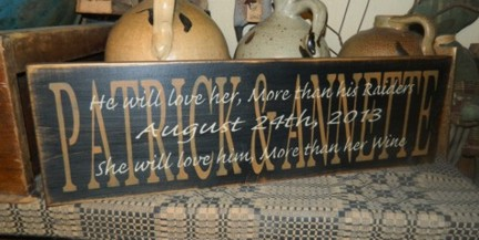 CUSTOM NAMES WEDDING VOWS PRIMITIVE SIGN SIGNS