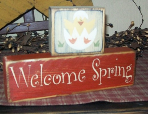 WELCOME SPRING PRIMITIVE BLOCK SIGN SIGNS