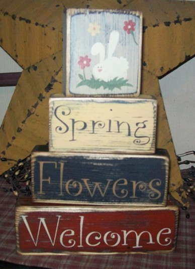 SPRING FLOWERS WELCOME PRIMITIVE BLOCK SIGN SIGNS