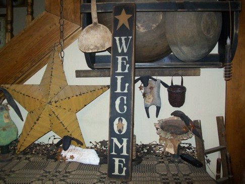 WELCOME  STAR VERICAL PRIMITIVE SIGN SIGNS