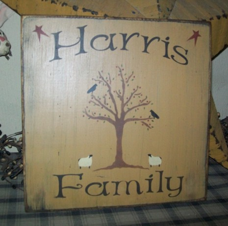 CUSTOM FAMILY WILLOW TREE  PRIMITIVE CUSTOM SIGN SIGNS