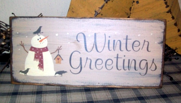 WINTER GREETINGS SNOWMAN BIRDHOUSE PRIMITIVE SIGN SIGNS