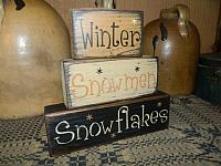 #8000 WINTER SNOWMEN SNOWFLAKES PRIMITIVE BLOCK SIGN