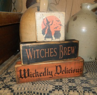 WITCHES BREW WICKEDLY DELICIOUS PRIMITIVE BLOCK SIGN SIGNS
