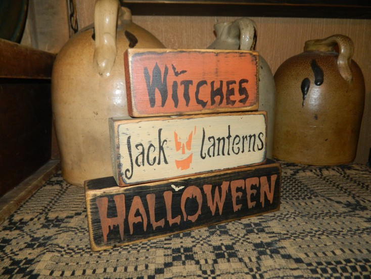 WITCHES JACK O' LANTERN HALLOWEEN PRIMITIVE BLOCK SIGN SIGNS