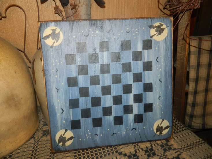 WITCH GAME BOARD GAMEBOARD PRIMITIVE HALLOWEEN SIGN SIGNS