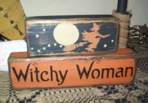 WITCHY WOMAN PRIMITIVE HALLOWEEN BLOCK SIGNS SIGNS
