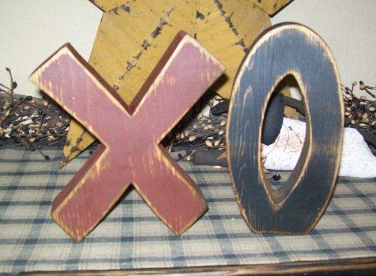 VALENTINE XO WORD BLOCKS LOVE PRIMITIVE BLOCK SIGN SIGNS