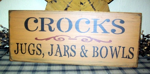 CROCKS JARS JUGS & BOWLS PRIMITIVE SIGN SIGNS