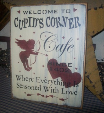 CUPID'S CORNER CAFE PRIMITIVE SIGN SIGNS