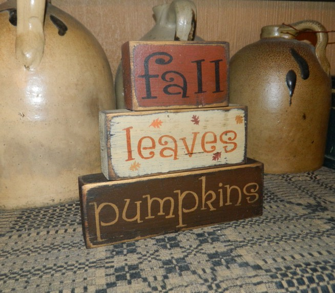 FALL LEAVES PUMPKINS PRIMITIVE SIGN SIGNS