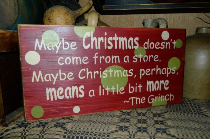 #5005 THE GRINCH PRIMITIVE CHRISTMAS SIGN SIGNS