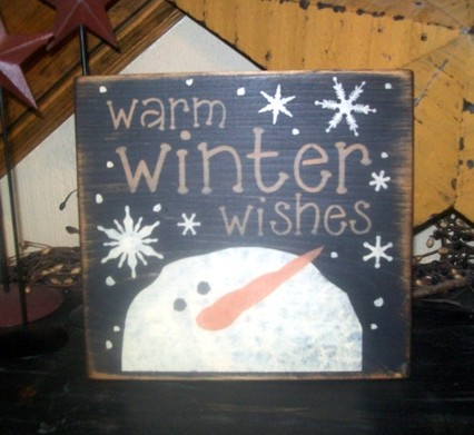 WARM WINTER WISHES 2 PRIMITIVE SIGN SIGNS