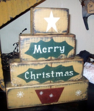 MERRY CHRISTMAS tree PRIMITIVE BLOCK SIGN SIGNS