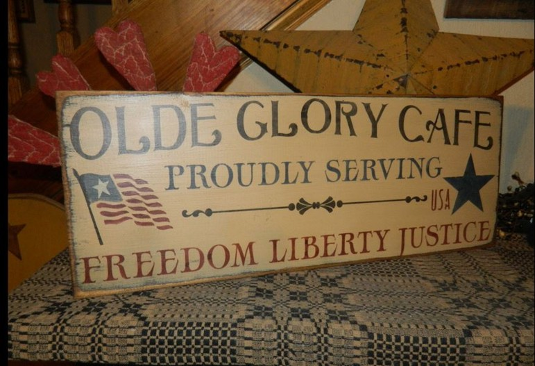 #5008 OLD GLORY CAFE PRIMITIVE SIGN SIGNS