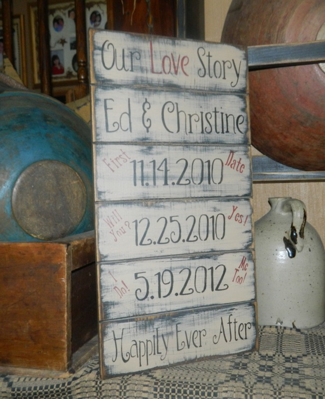 OUR LOVE STORY PRIMITIVE CUSTOM SIGN SIGNS