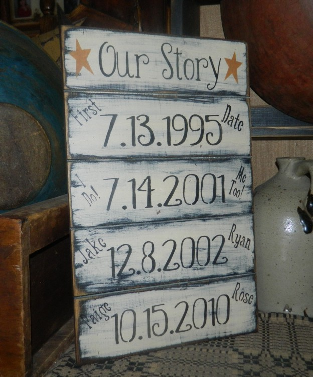 OUR STORY PRIMITIVE CUSTOM SIGN SIGNS