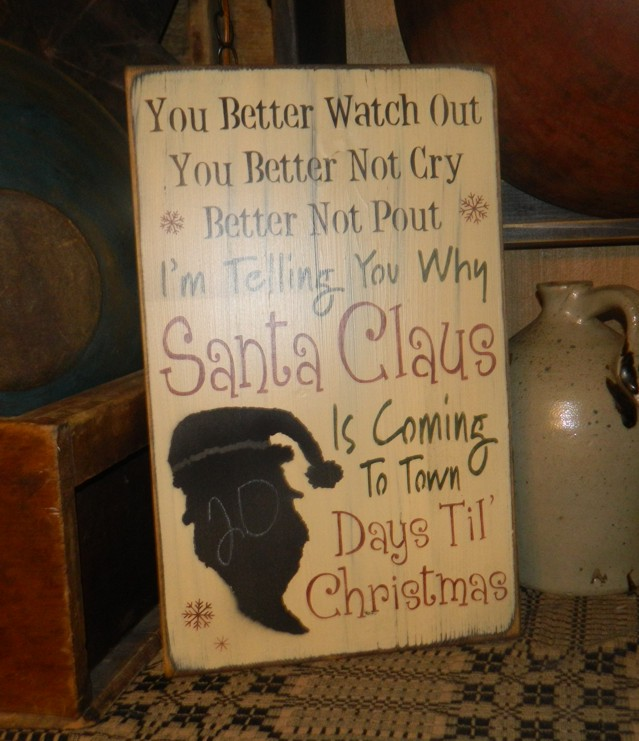 BETTER NOT POUT SANTA CLAUS COMING TO TOWN CHALKBOARD DAYS TIL' CHRISTMAS PRIMITIVE BLOCK SIGN SIGNS