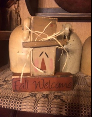 #6020 FALL WELCOME PRIMITIVE FALL HARVEST BLOCK SIGN SIGNS