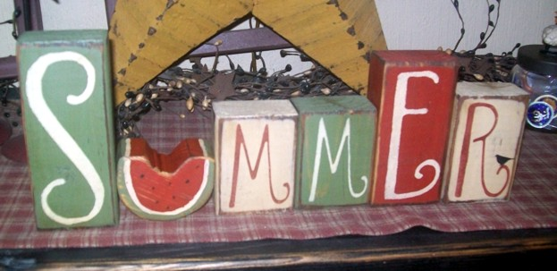 SUMMER WATERMELON PRIMITIVE BLOCK SIGNS SIGN