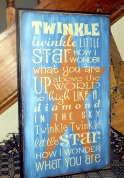 TWINKLE TWINKLE LITTLE STAR PRIMITIVE SIGN SIGNS
