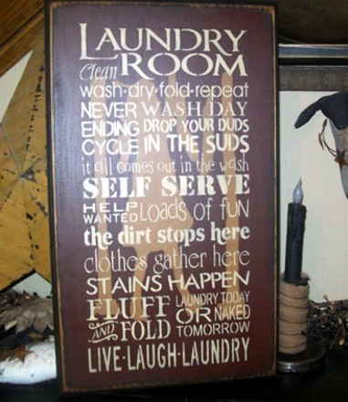 LAUNDRY ROOM  TYPOGRAPHY PRIMITIVE SIGN SIGNS