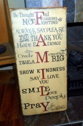 FAMILY THOUGHTFUL, PATIENCE, LOVE YOU, DREAM, & PRAY PRIMITIVE SIGN SIGNS