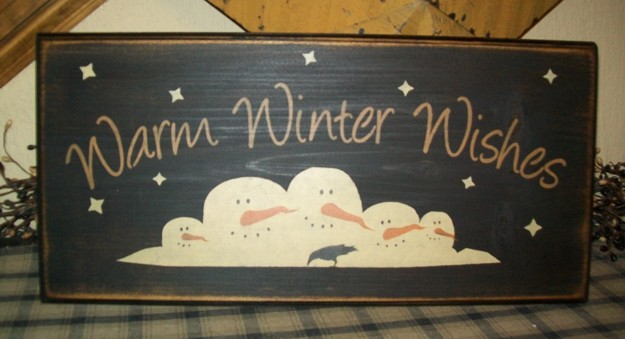 WARM WINTER WISHES SNOWMEN PRIMITIVE SIGN SIGNS